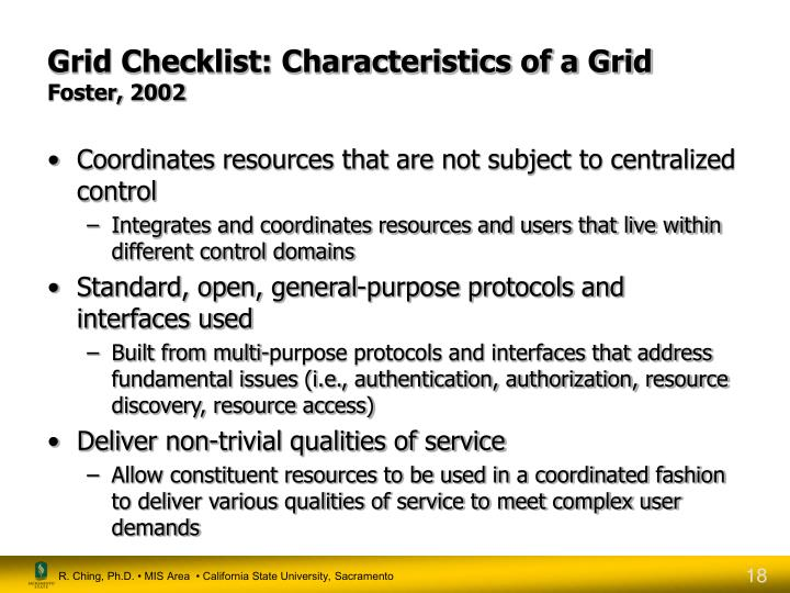 Grid Checklist: Characteristics of a Grid