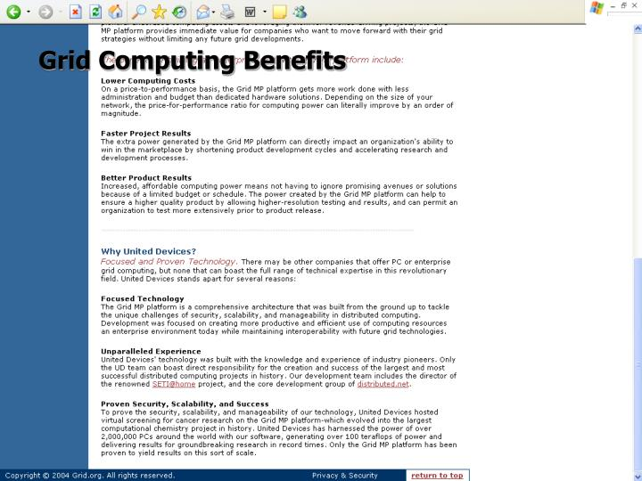 Grid Computing Benefits