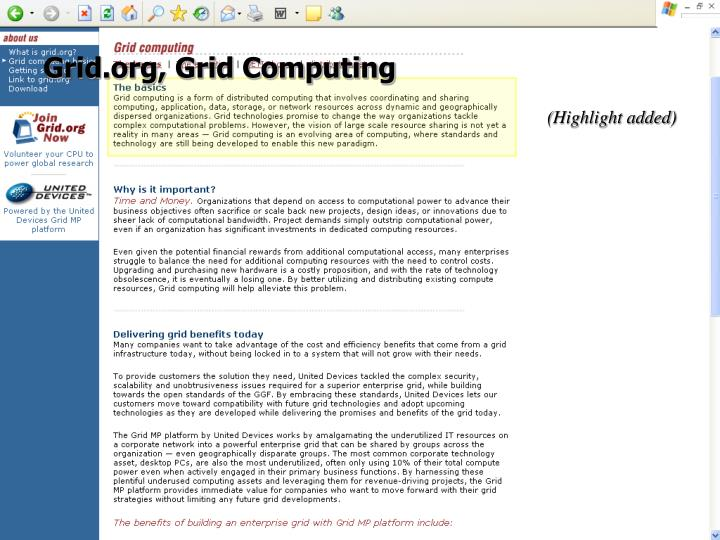 Grid.org, Grid Computing