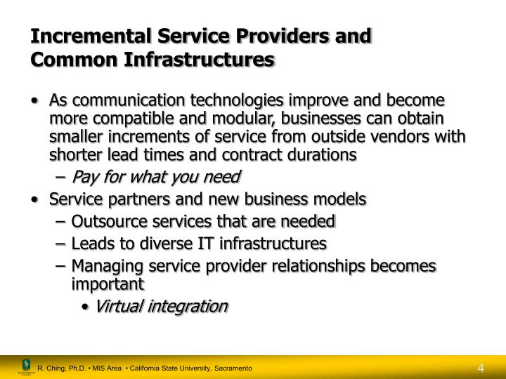 Incremental Service Providers and
