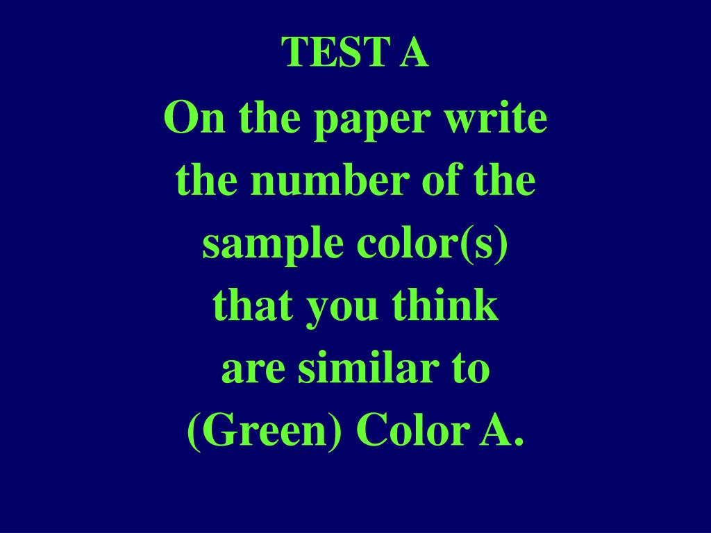 TEST A
