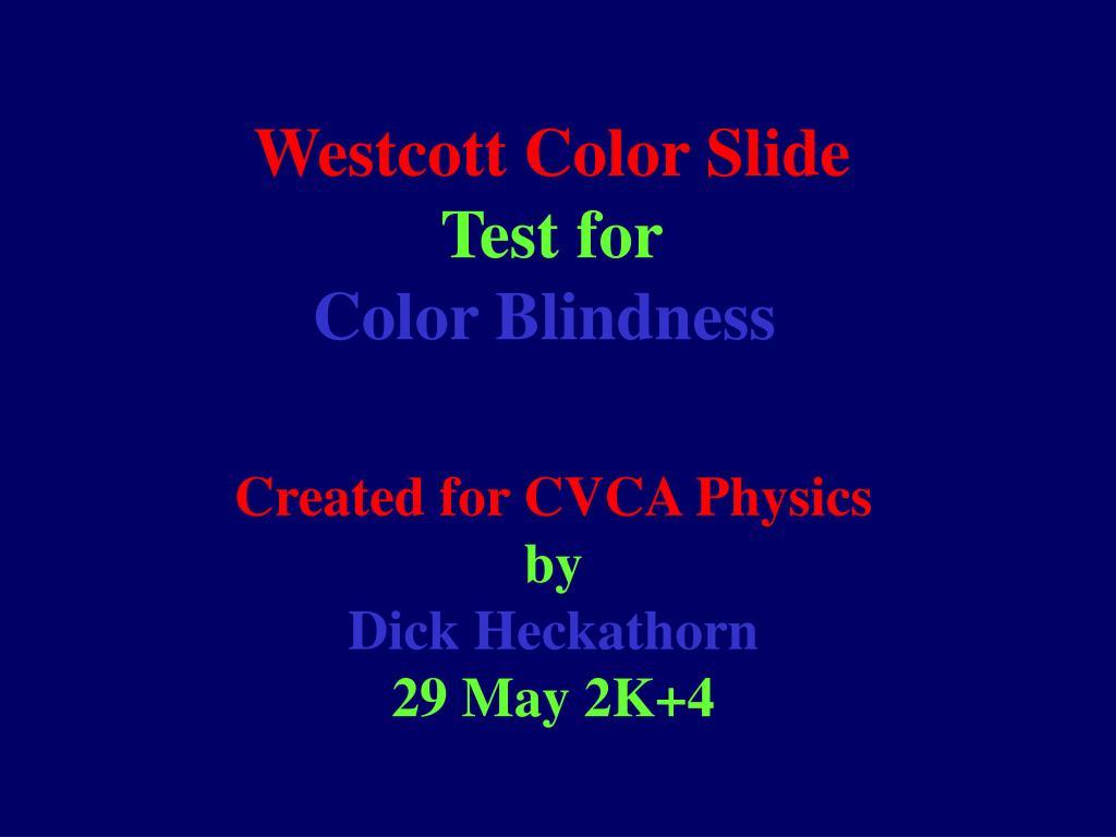 westcott color slide test for color blindness l.