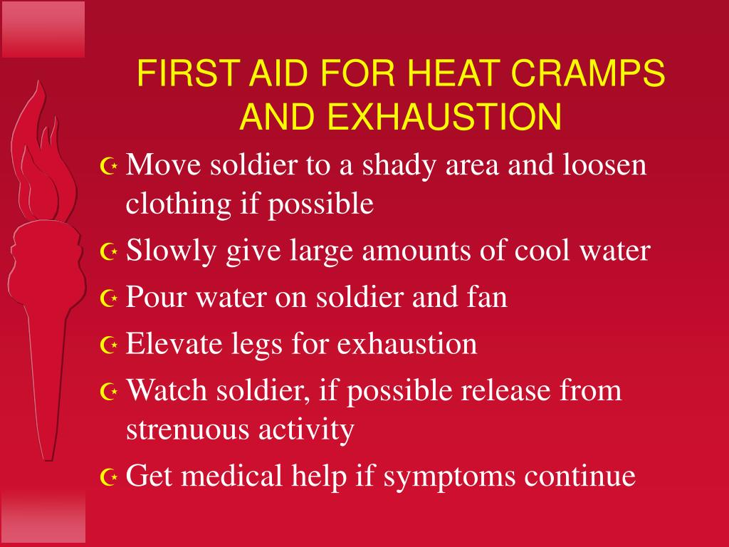 FIRST AID FOR HEAT CRAMPS AND EXHAUSTION