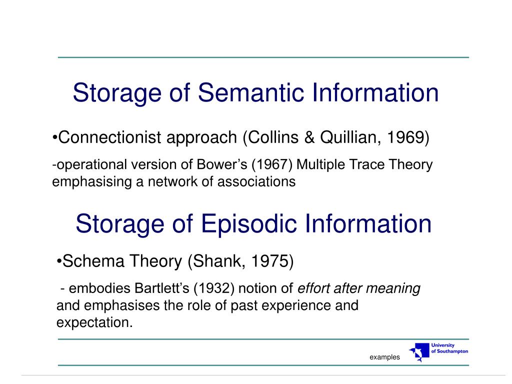 storage of semantic information l.