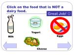 click on the food that is not a dairy food28
