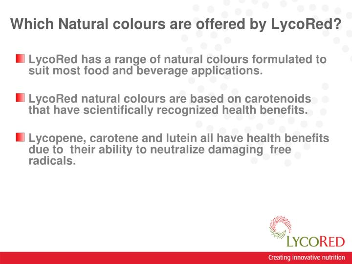 Which natural colours are offered by lycored