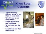 know local customs6