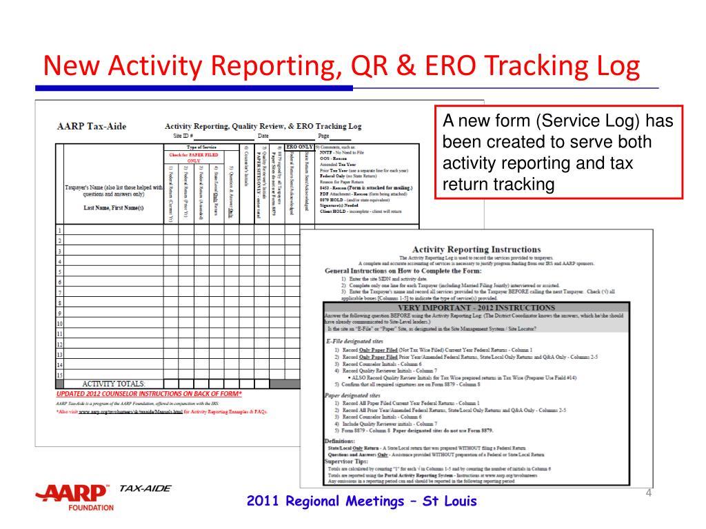 New Activity Reporting, QR & ERO Tracking Log