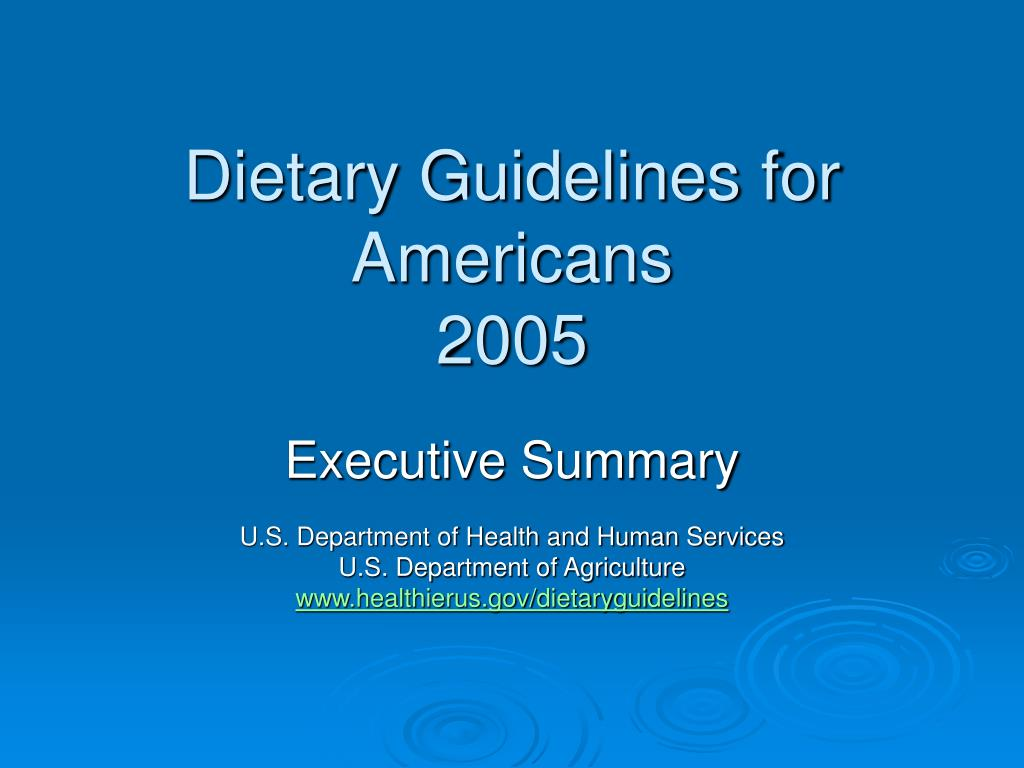 dietary guidelines for americans 2005 l.