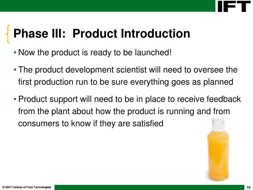 Phase III:  Product Introduction