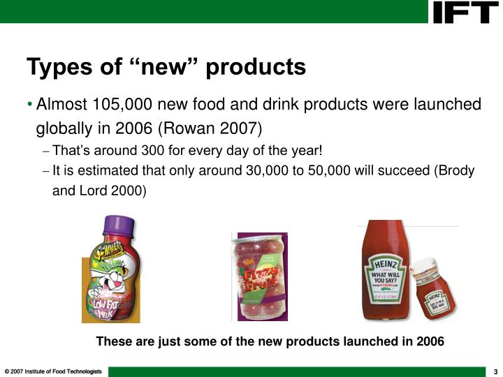 Types of new products