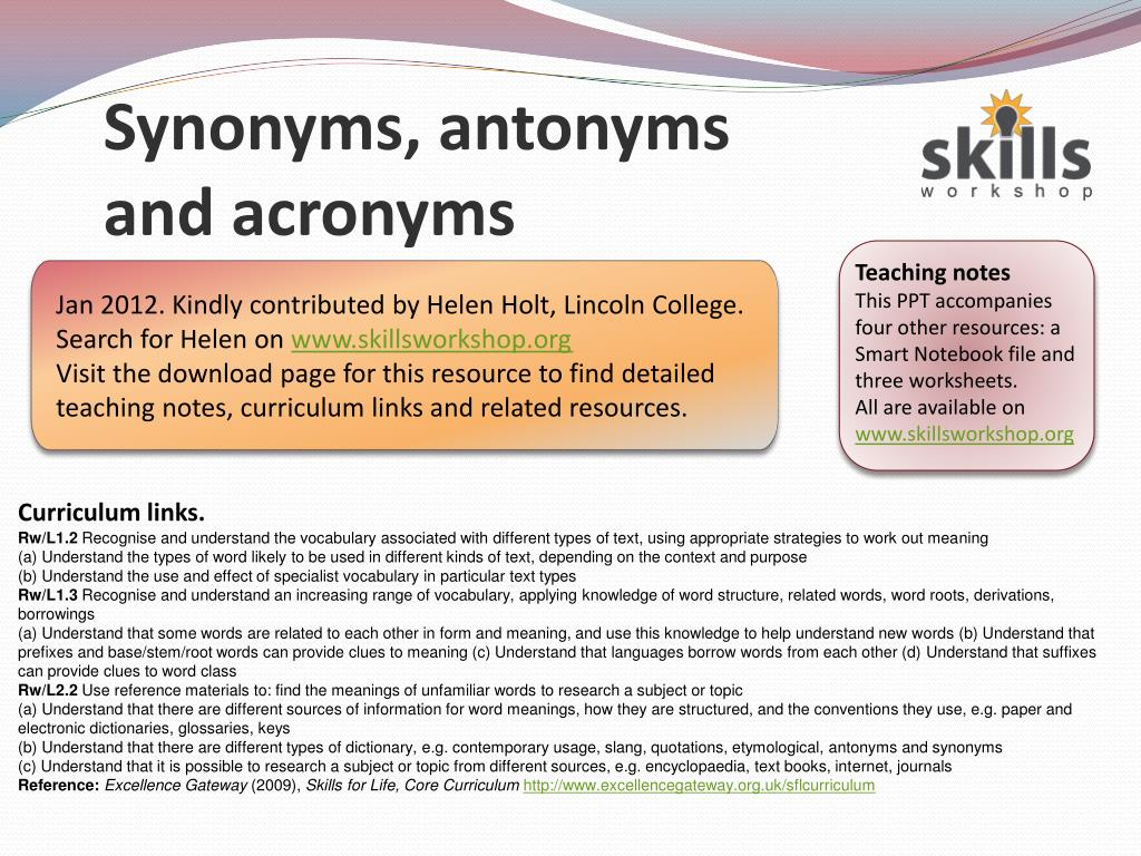 Ppt Synonyms Antonyms And Acronyms Powerpoint Presentation Id