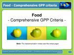 food comprehensive gpp criteria