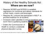 history of the healthy schools act where are we now