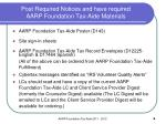 post required notices and have required aarp foundation tax aide materials