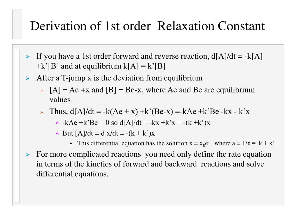 Derivation of 1st order  Relaxation Constant