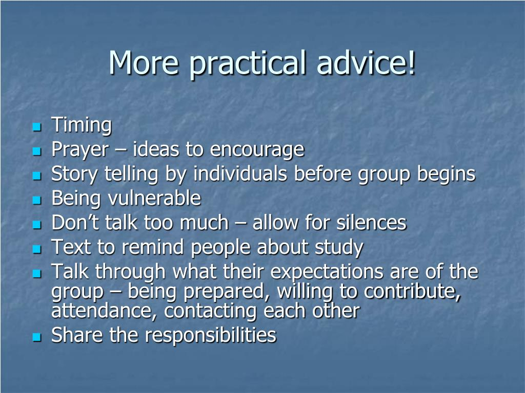 More practical advice!
