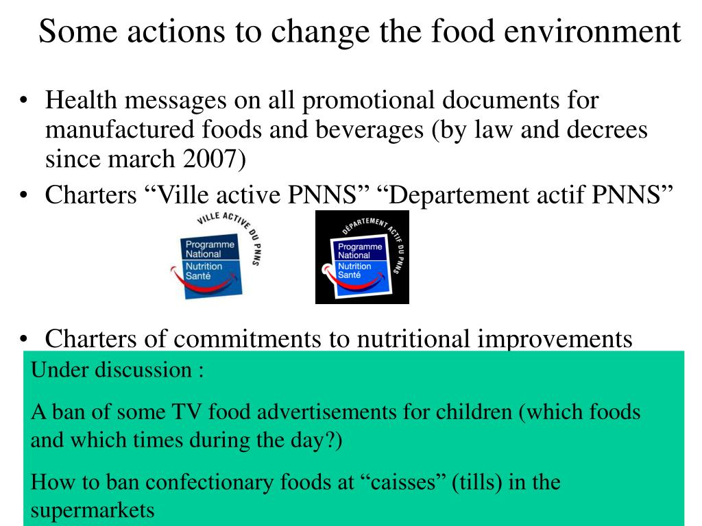 Some actions to change the food environment