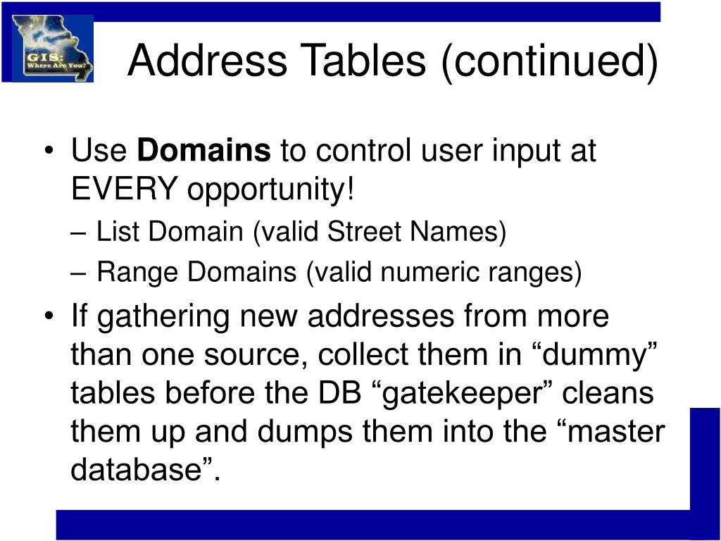 Address Tables (continued)