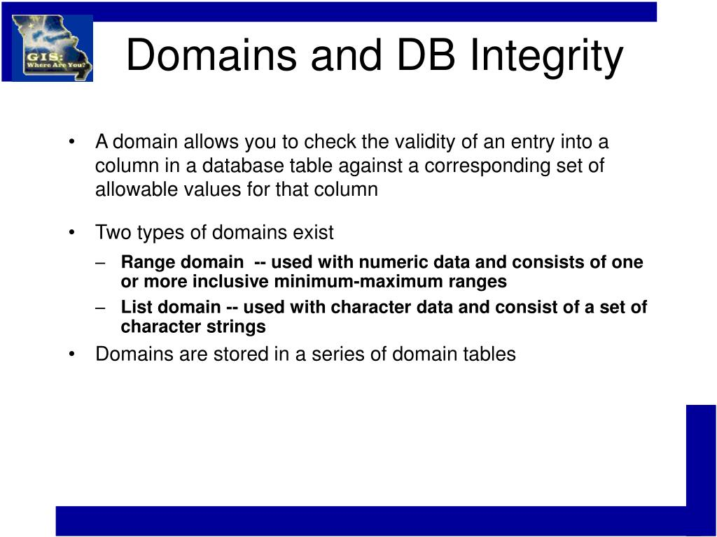Domains and DB Integrity