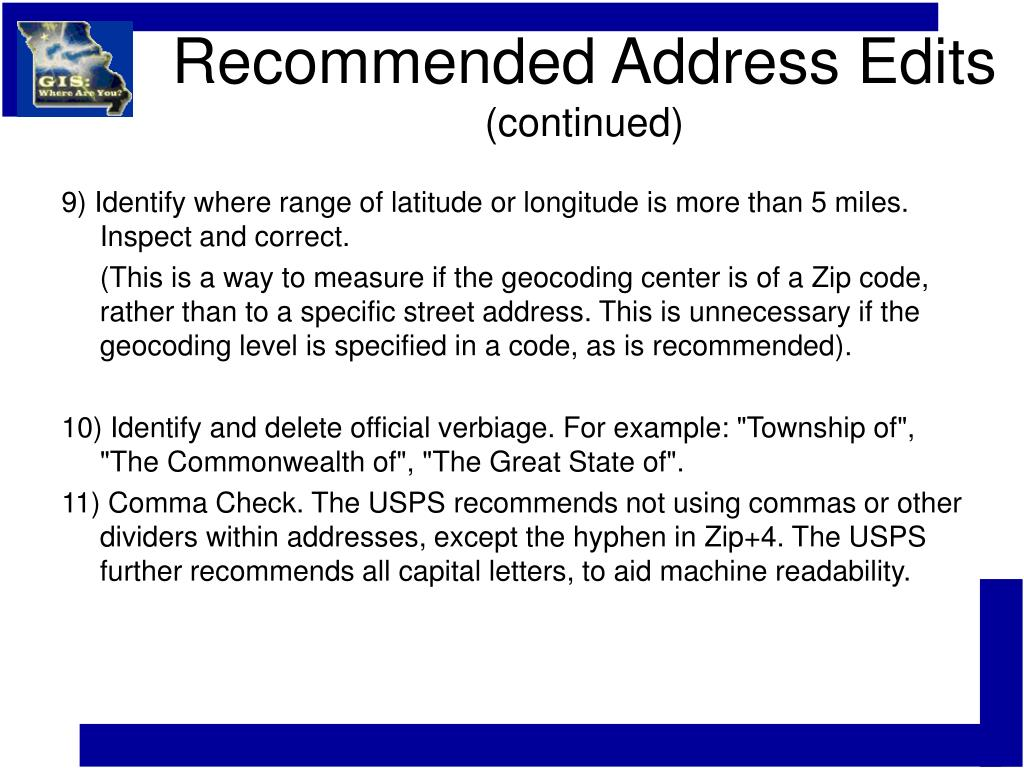 Recommended Address Edits