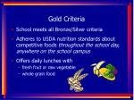 gold criteria