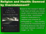 religion and health damned by overstatement