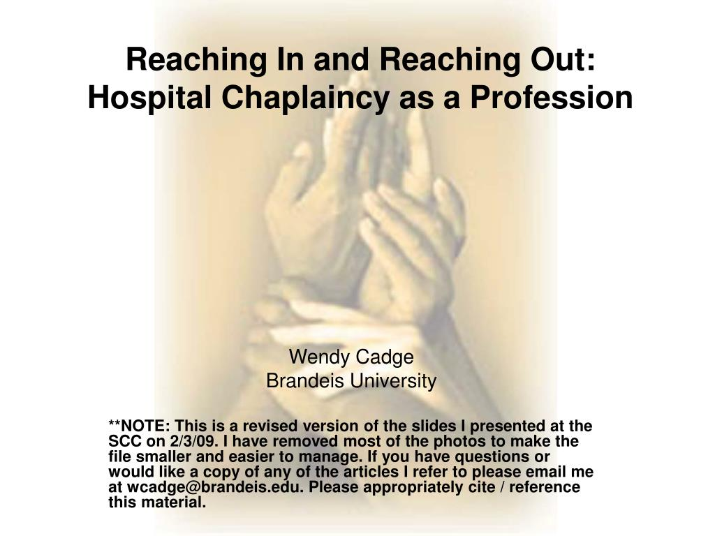 reaching in and reaching out hospital chaplaincy as a profession l.