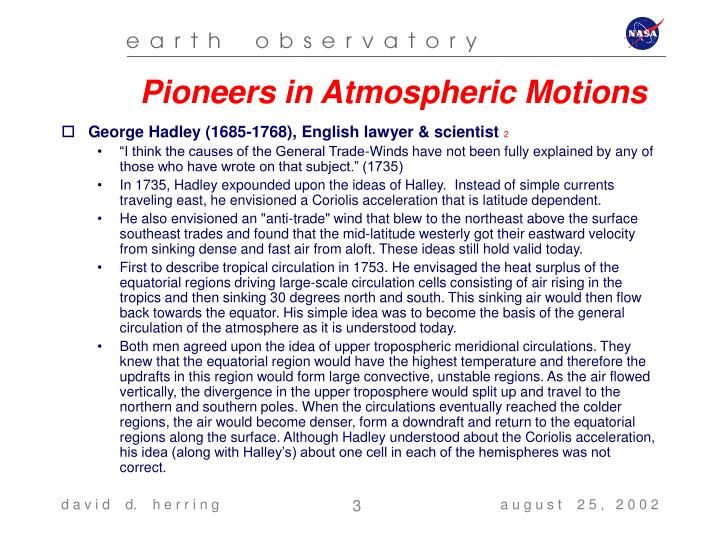 Pioneers in Atmospheric Motions