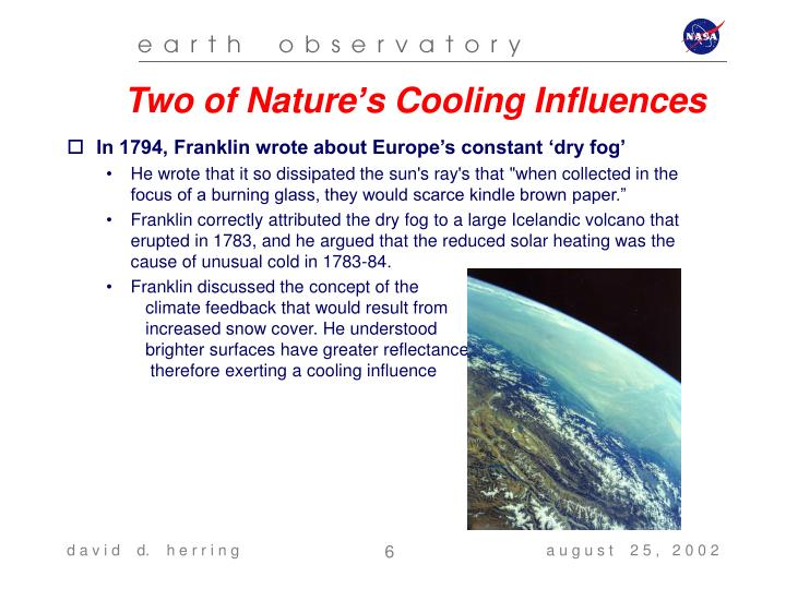 Two of Nature's Cooling Influences
