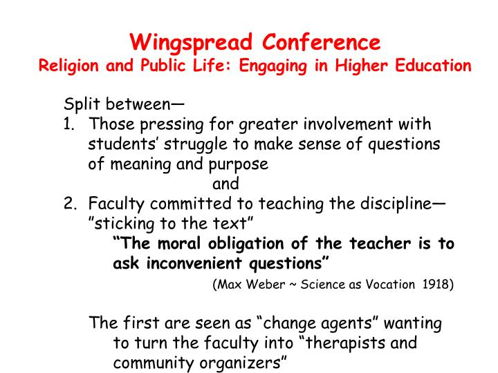 Wingspread conference religion and public life engaging in higher education