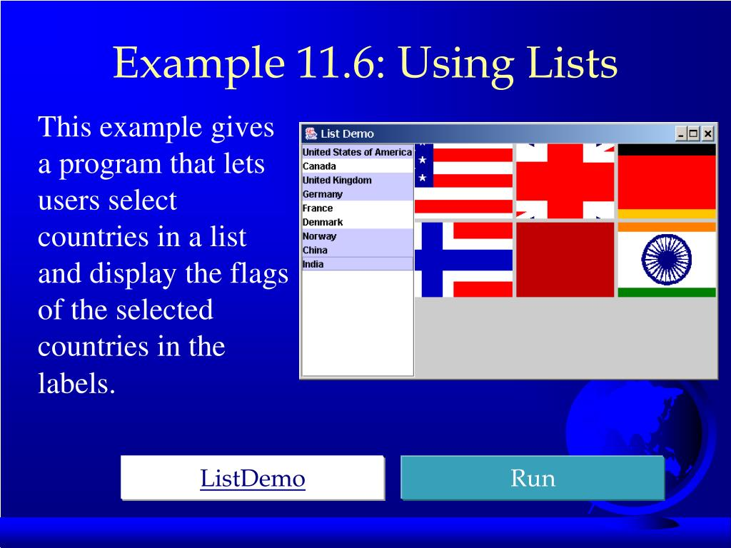 Example 11.6: Using Lists