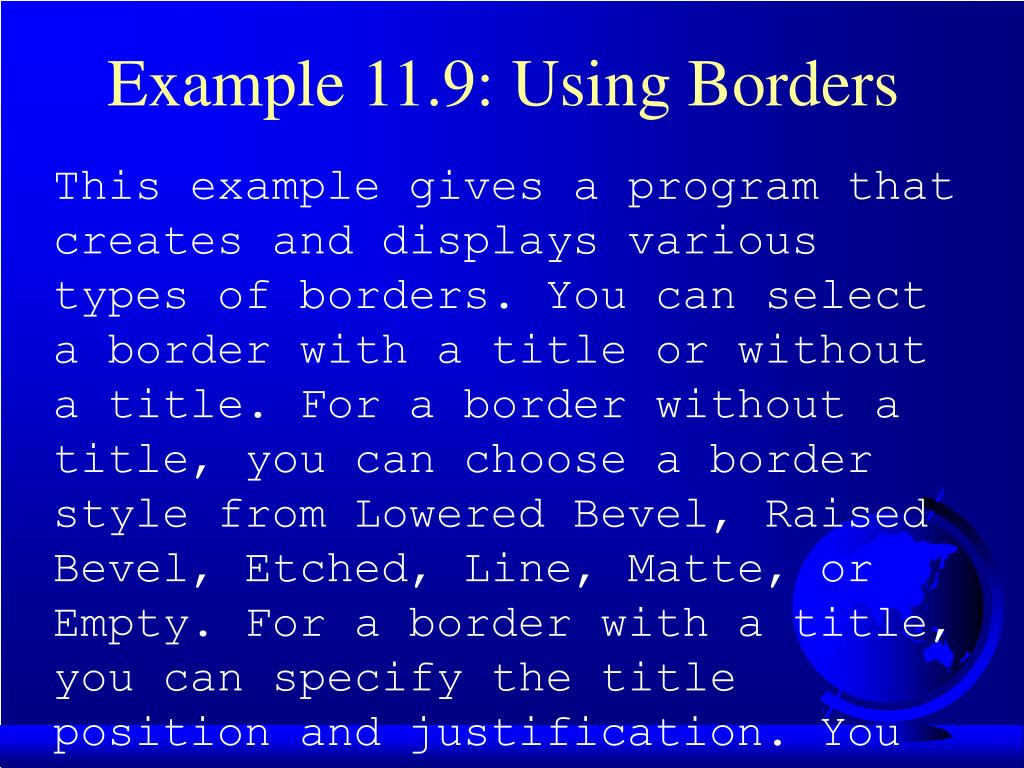 Example 11.9: Using Borders