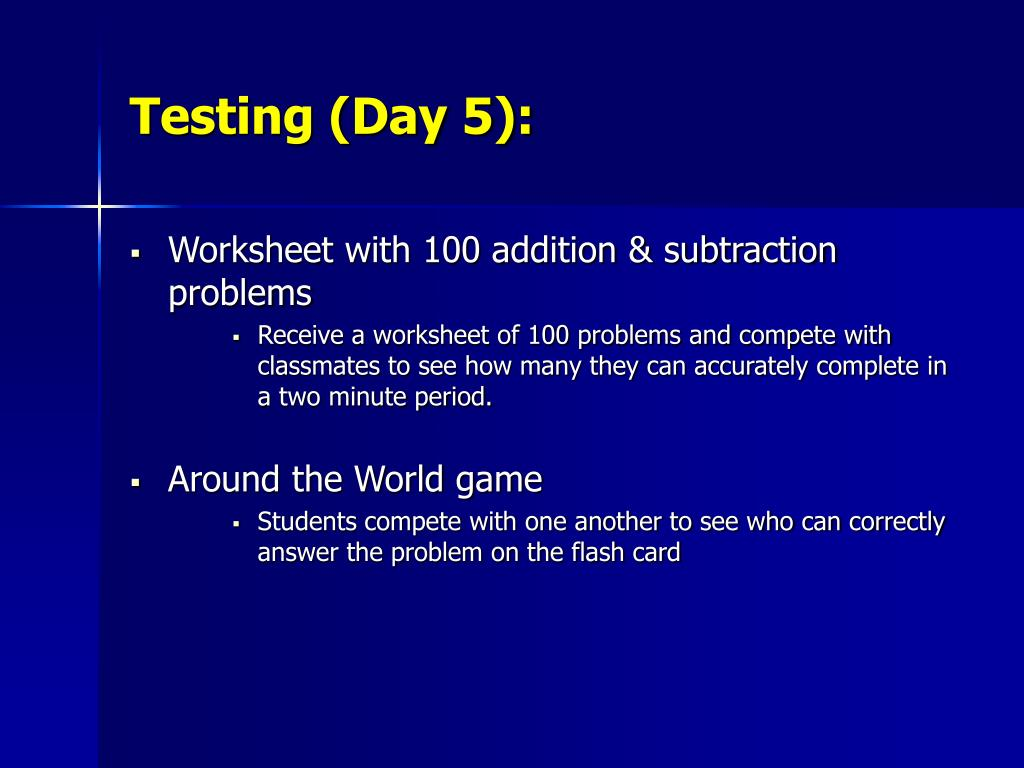 Testing (Day 5):
