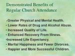 demonstrated benefits of regular church attendance