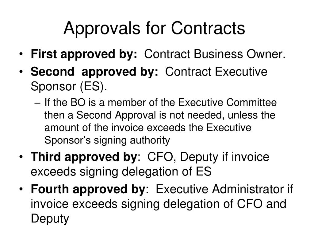 Approvals for Contracts