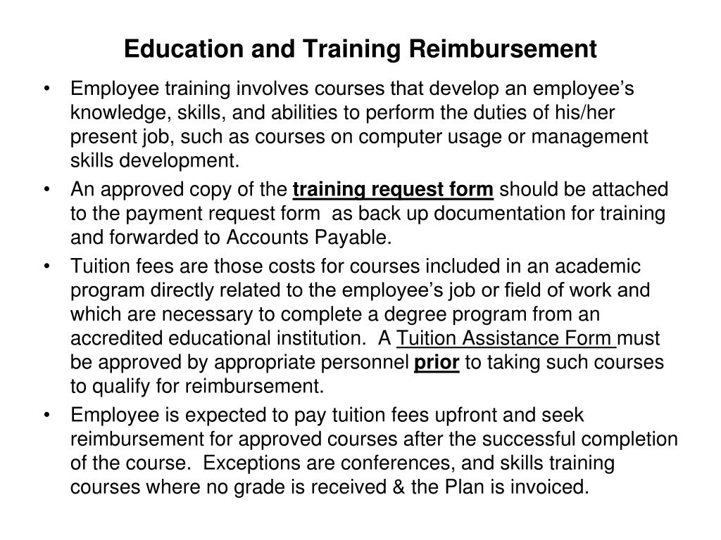 Education and Training Reimbursement