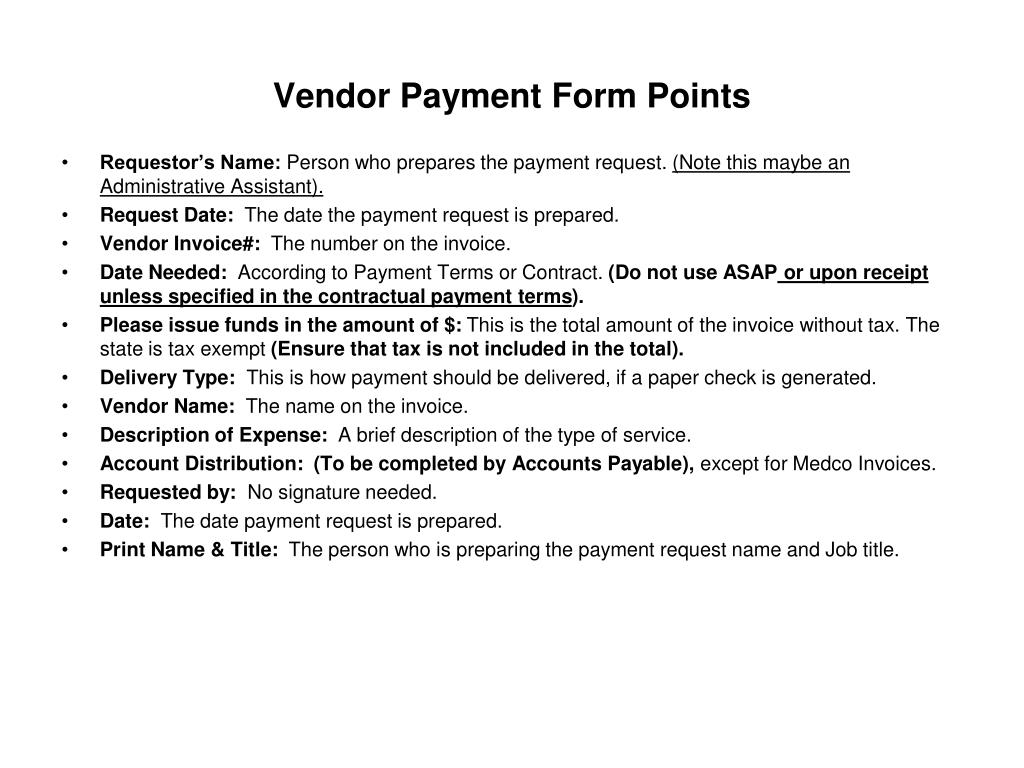Vendor Payment Form Points