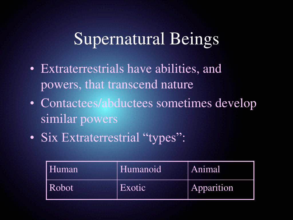 Extraterrestrials have abilities, and powers, that transcend nature