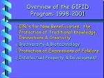 overview of the gipid program 1998 2001