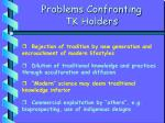 problems confronting tk holders