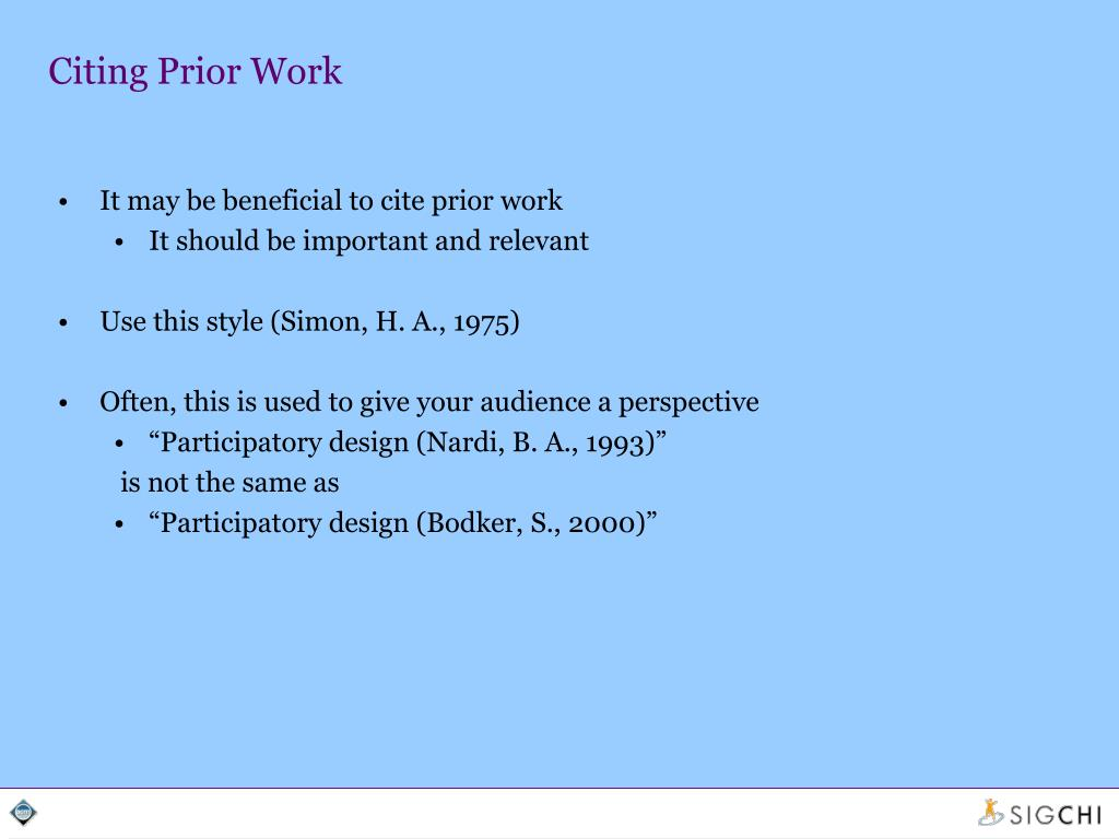 Citing Prior Work