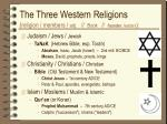 the three western religions religion members adj book founder leaders