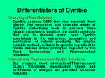 differentiators of cymbio