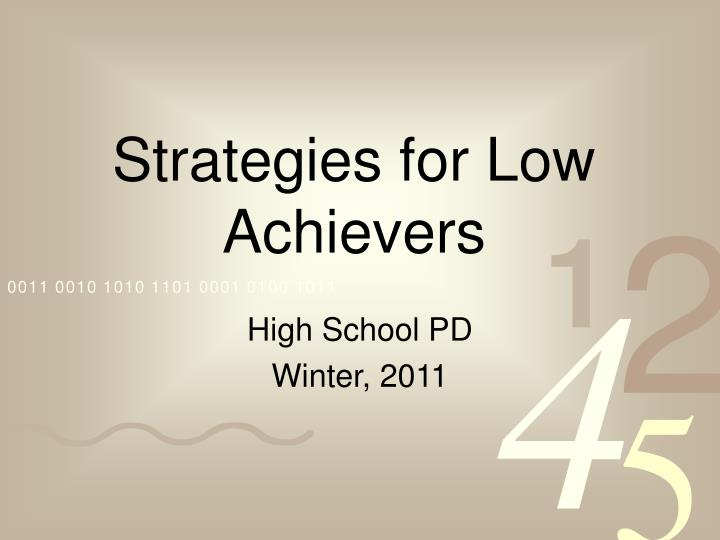 strategies for low achievers n.