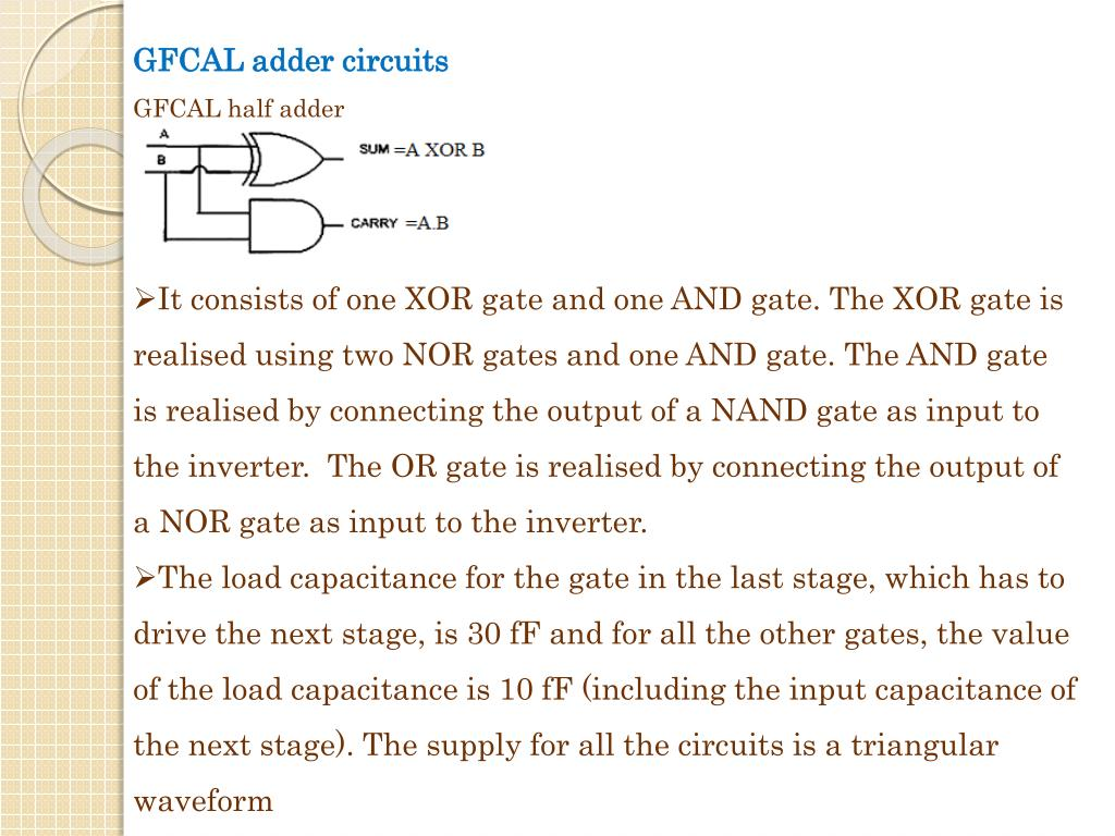 GFCAL adder circuits