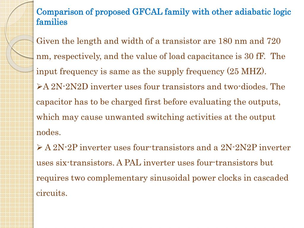 Comparison of proposed GFCAL family with other adiabatic logic families