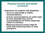 physical activity and health continued25