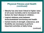 physical fitness and health continued