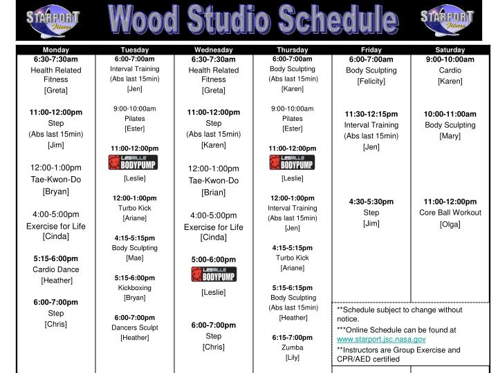 Wood Studio Schedule